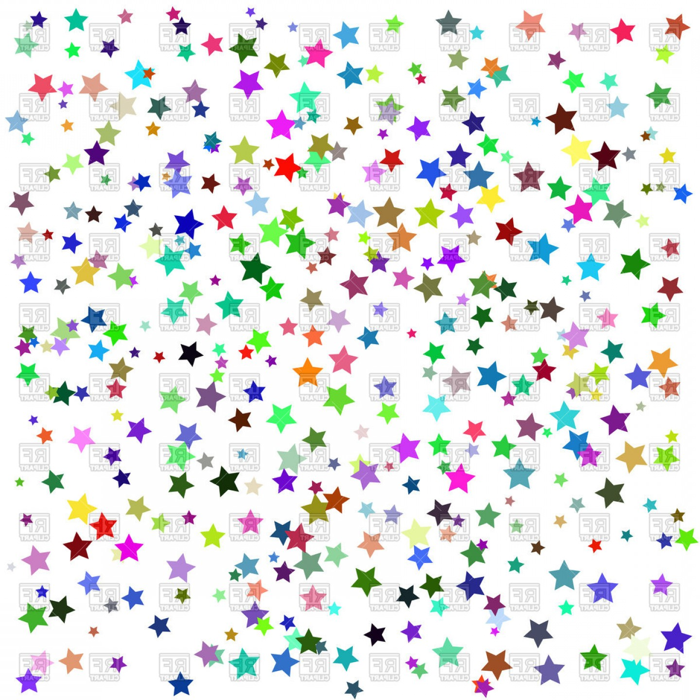 Colorful Stars Background Vector Clipart.