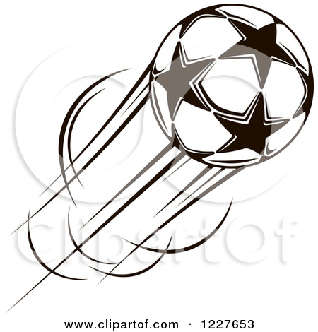 Clipart of a Black and White Flying Star Soccer Ball.