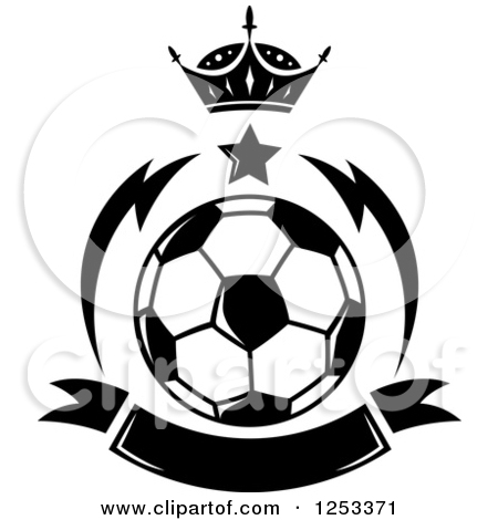 Clipart of a Black and White Soccer Ball with a Crown Star and.
