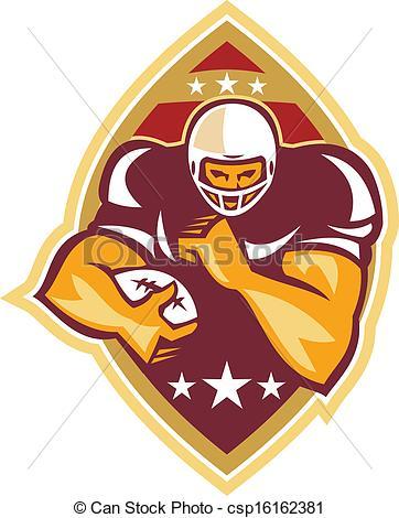 Vector of American Football Running Back Star Ball.