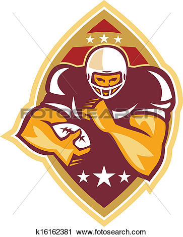 Clipart of American Football Running Back Star Ball k16162381.