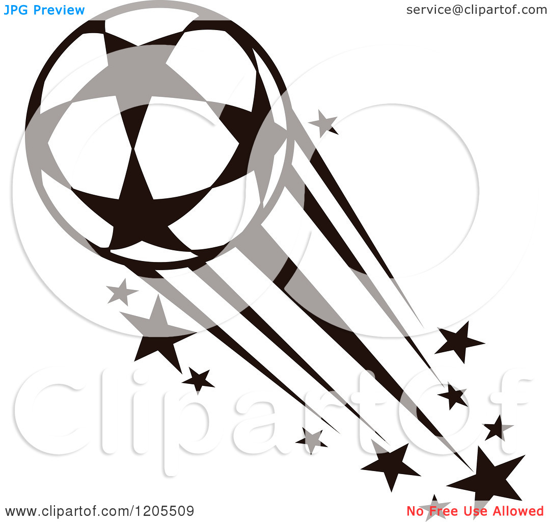 Clipart of a Black and White Flying Soccer Ball with Stars 2.