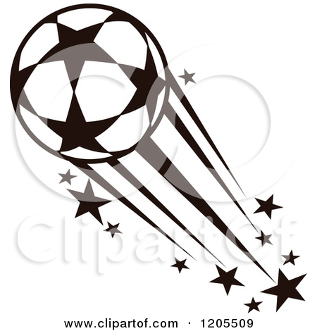 Clipart Of A Black And White Soccer Ball With Tribal Flames 7.