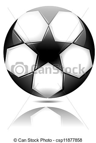 Clipart Vector of Soccer ball with black stars with reflection in.