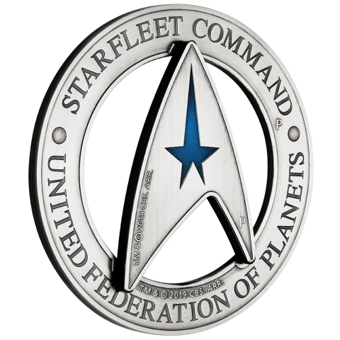 2019 3oz Tuvalu Star Trek Starfleet Command Emblem Holey Dollar & Delta  .9999 Silver Coin Set.