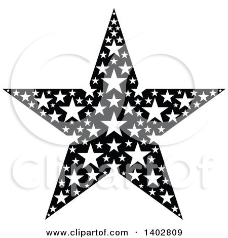 Clipart of a Black and White Star Design.