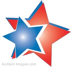 Clip Art of Colorful Double Star Design.
