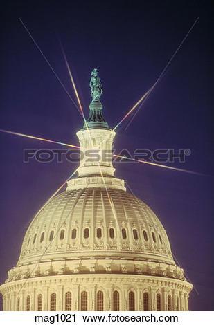 Stock Photography of U.S. Capitol, star filter, Washington, D.C..