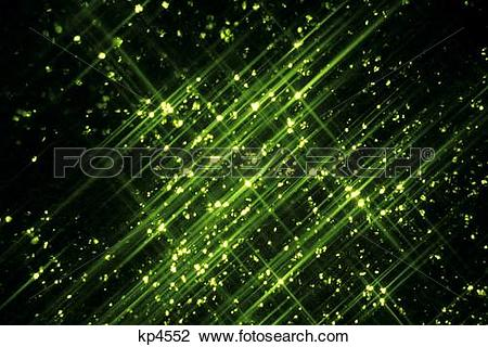 Stock Photo of Green Lights With Star Filter Galaxy Effect kp4552.
