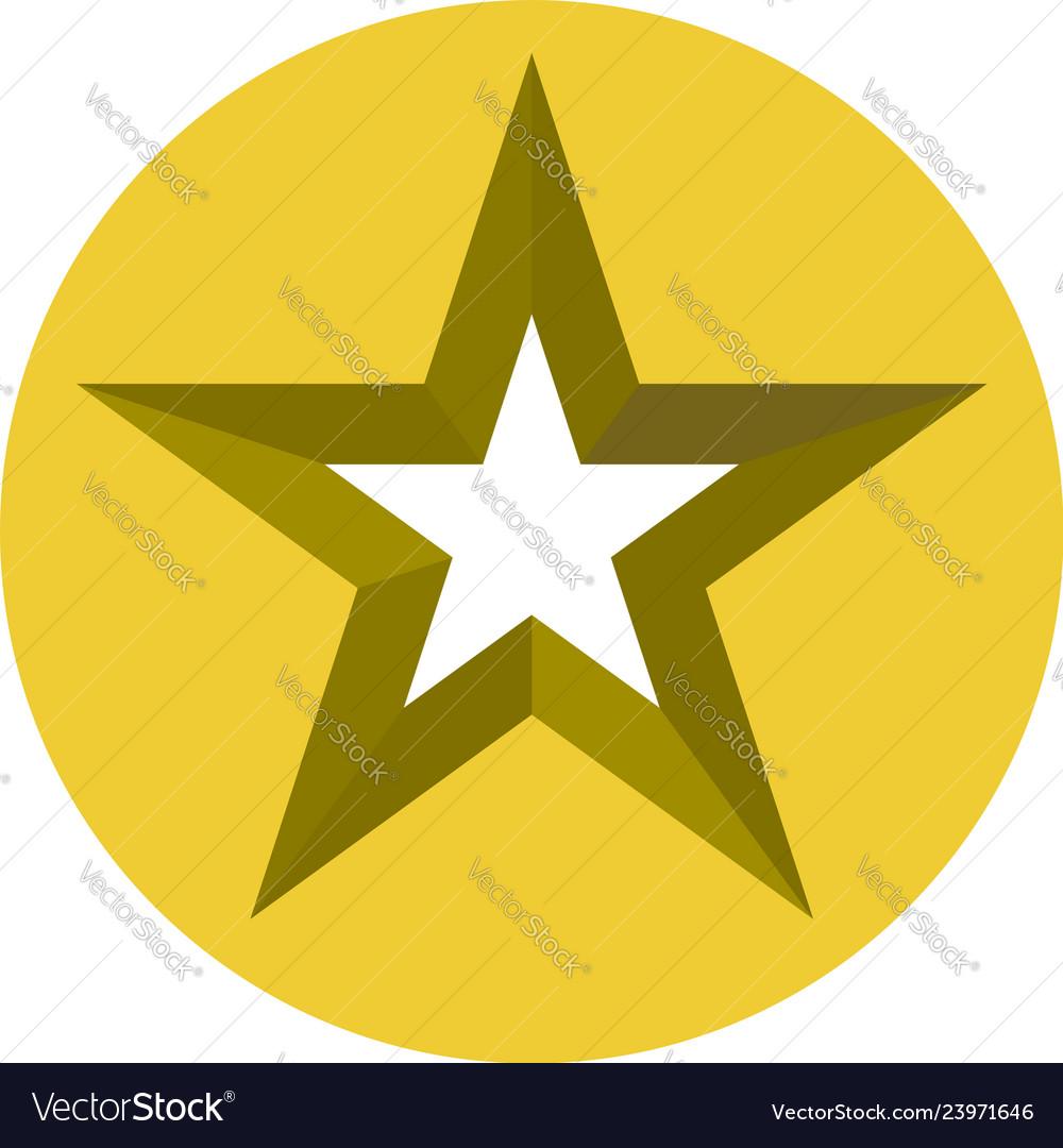 Star cut in circle 3d star icon star.