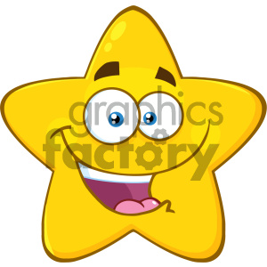 Royalty Free RF Clipart Illustration Happy Yellow Star Cartoon Emoji Face  Character With Expression Vector Illustration Isolated On White Background.