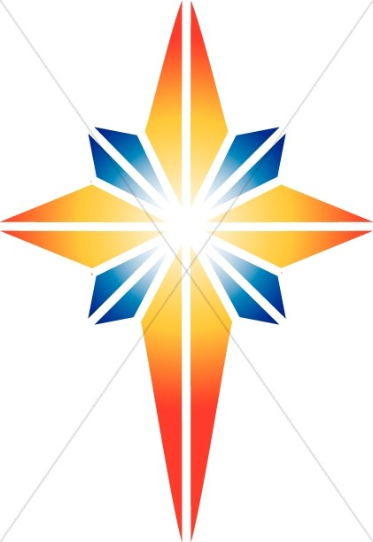 Red and Blue Star of Bethlehem.
