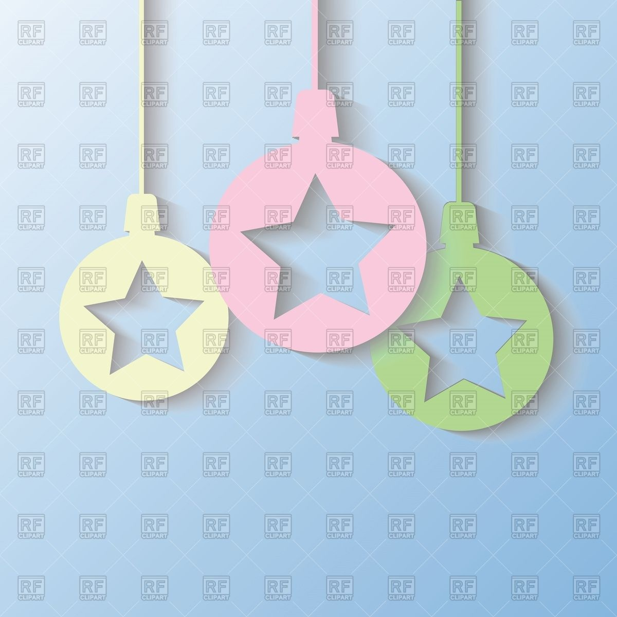 Hanging paper Christmas balls with cut.