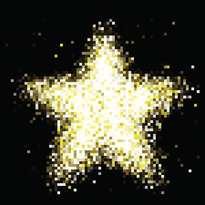 Vector gold star sparkles in space. Glittering shining.