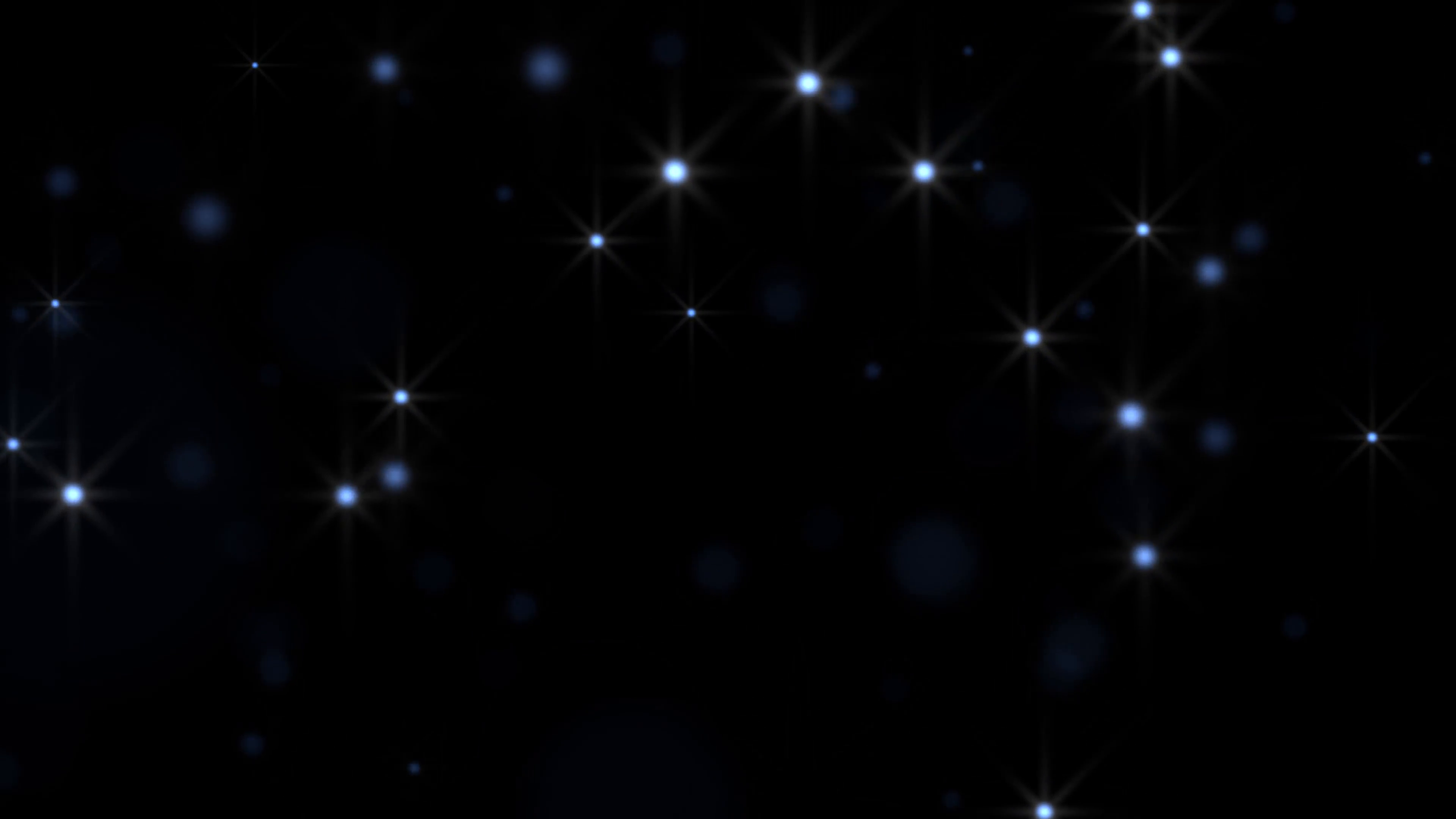 Blue glowing star particle in random direction 3D render abstract  background animation motion graphic with copy space on black background  Motion.