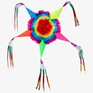 Colorful Star Mexican Piñata Foldable Cardboard Party.