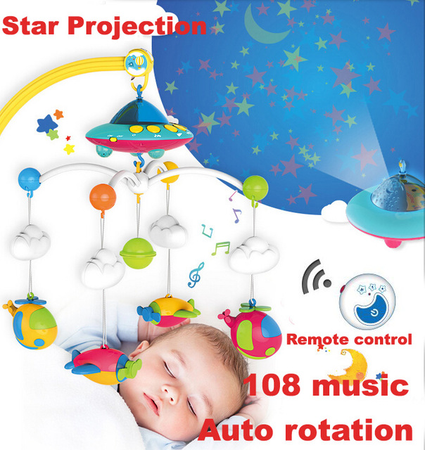 Crib Toys Bell Star Projection Infant Baby Play Activity 108 Music.