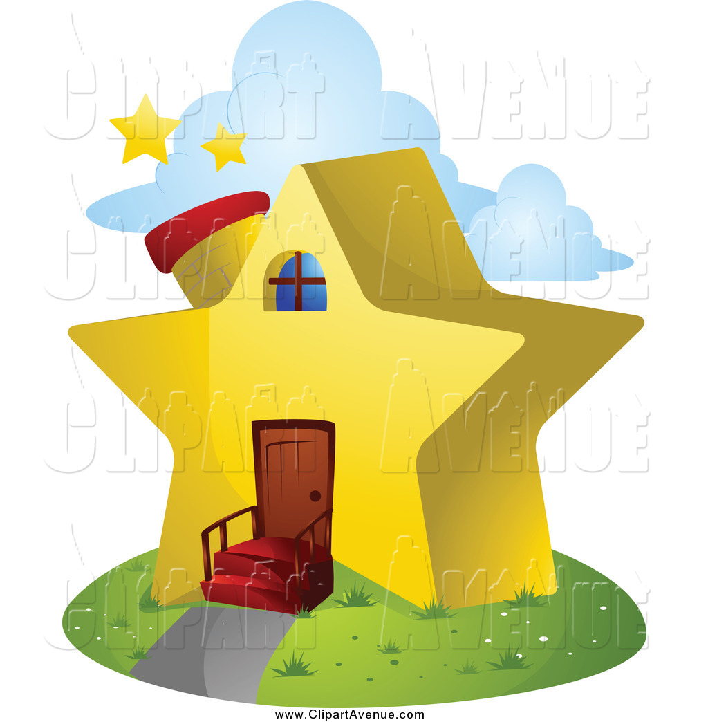 Avenue Clipart of a Unique Star Shaped House by BNP Design Studio.