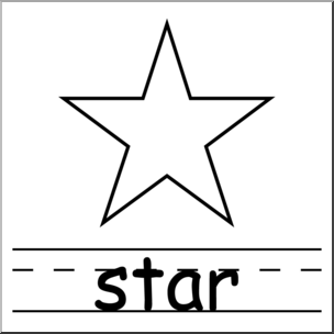 Clip Art: Shapes: Star B&W Labeled I abcteach.com.