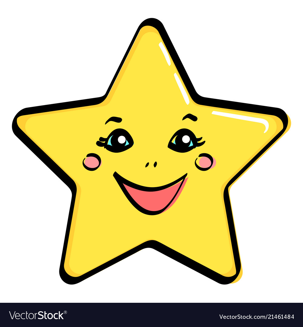 Object yellow star with a face.