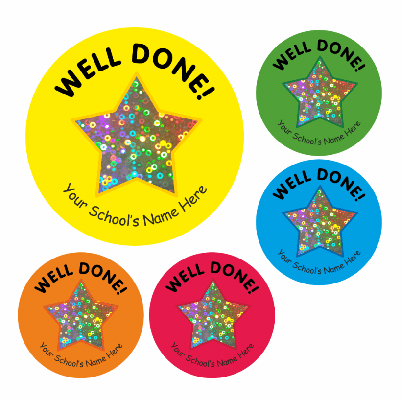 Well Done Sparkly Star Stickers.