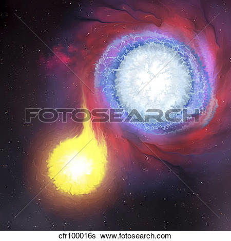 Stock Illustration of A binary star system. cfr100016s.