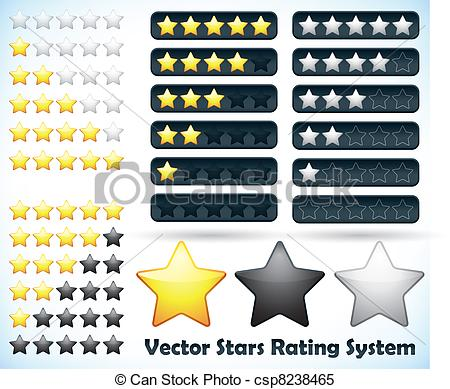Clipart Vector of Star Rating System. Vector illustration of a.