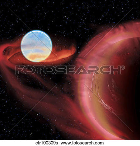 Stock Illustration of A binary star system. cfr100309s.