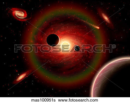Stock Illustration of A wandering comet passing through an alien.