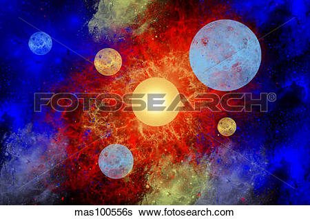 Stock Illustration of The formation of new planets in an alien.