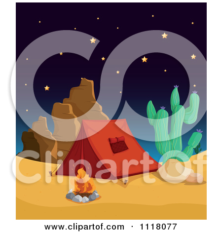 Vector Clipart Of A Shooting Star Over Tents On A Prairie.