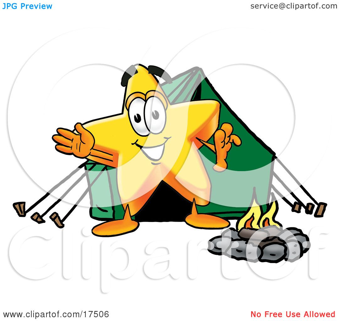 Clipart Picture of a Star Mascot Cartoon Character Camping With a.