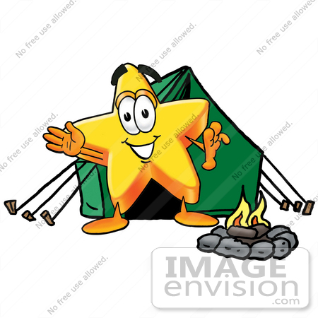 Clip Art Graphic of a Yellow Star Cartoon Character Camping With a.