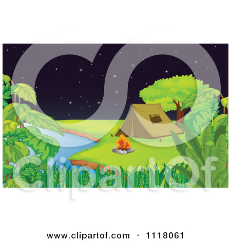 Vector Clipart Of A Shooting Star Over Camping Tents Pitched By A.