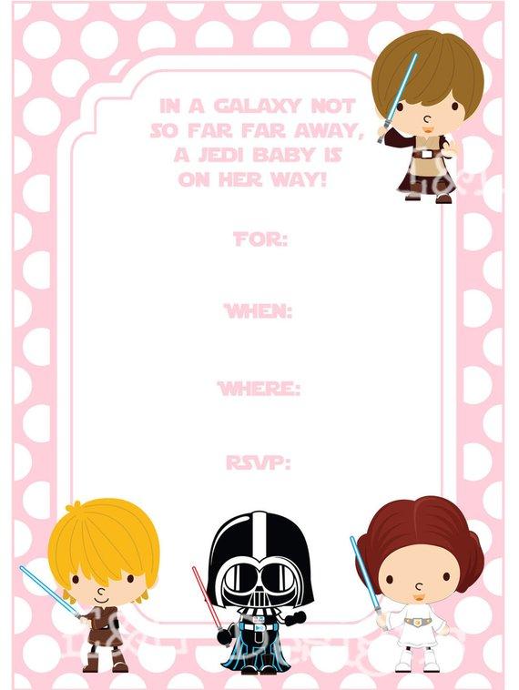 Star Wars Baby Shower 5x7 Invitation, Girl Baby Shower.