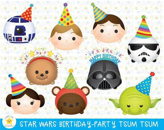 STAR WARS Tsum tsum clipart, BIRTHDAY clipart, tsum tsum.
