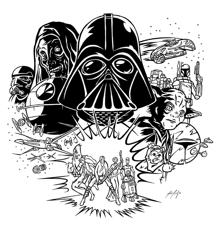 Star wars characters clipart black and white.