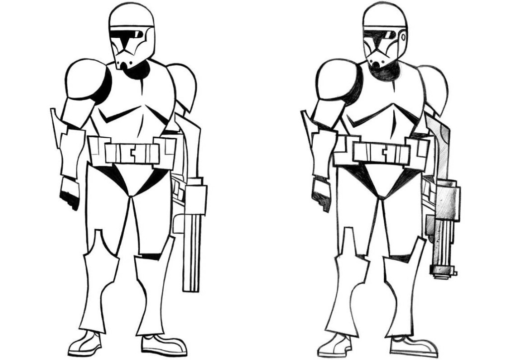Star wars characters black and white clipart kid 2.