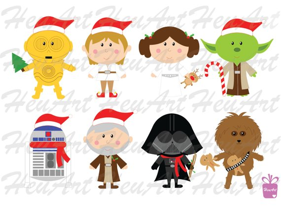 NEW Star Wars Christmas Clipart Set.