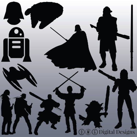 12 Star Wars Silhouette Clipart Images by OMGDIGITALDESIGNS.