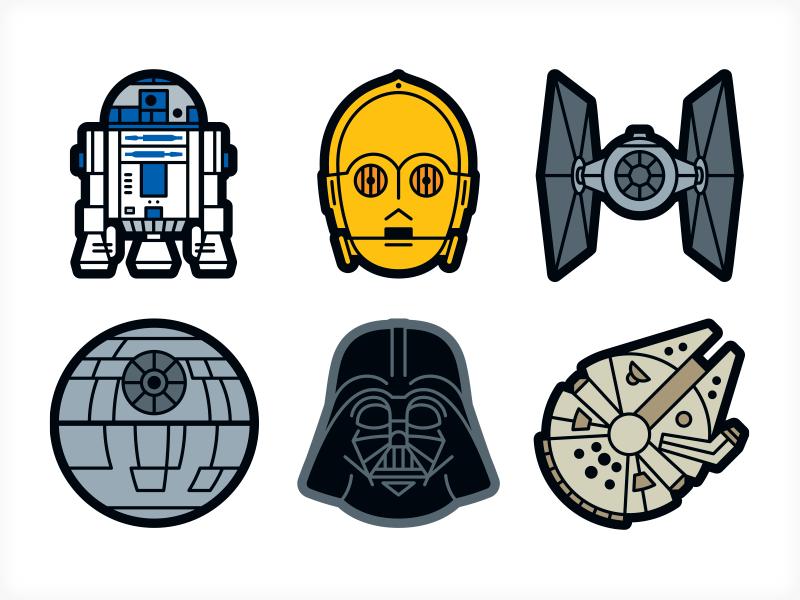 Star Wars Sticker Icons.