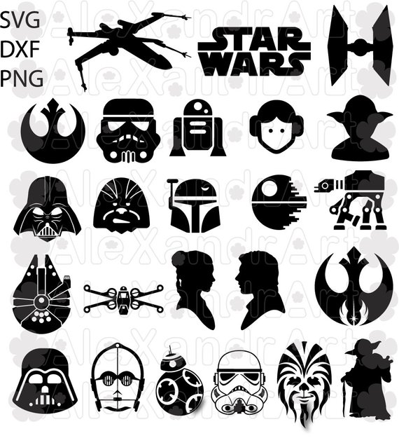 start wars icons SVG,DXF,PNG,jpg,53 files,eps,cut file,star.