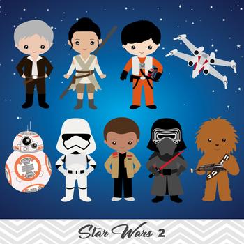 NEW Star Wars Digital Clip Art, BB8, Rey, Finn, Kylo Ren.