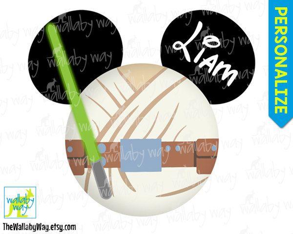 Luke Skywalker Mickey Head Jedi Star Wars Printable Disney.