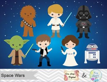 Star Wars Digital Clip Art, Han Solo, Luke Skywalker, Princess Leia, Yoda,  00178.