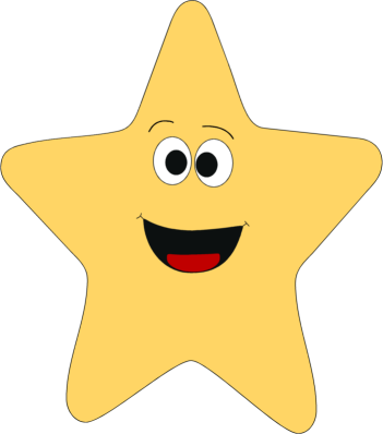 Star with face clipart.