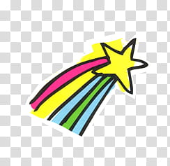 Happiness, star with rainbow tail transparent background PNG.