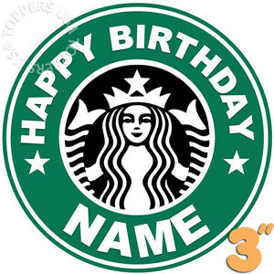 Details about 2x EDIBLE Starbucks Logo Birthday Party Cake Topper Wafer  Paper 3\