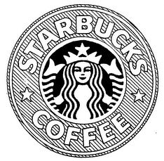 starbucks, logo, drawing, tumblr, black and white, coffee in.