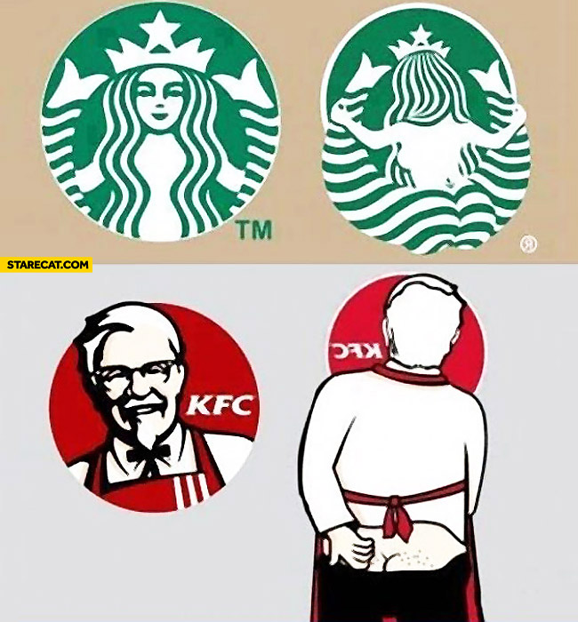 Logos from the other side Starbucks KFC.